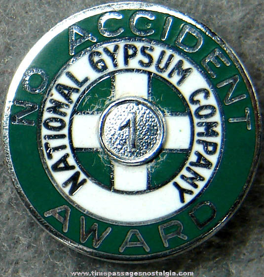 Old Enameled National Gypsum Company Employee 1 Year Safety Award Pin
