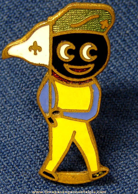 Colorful Old Enameled Boy Scout Golliwog Character Pin