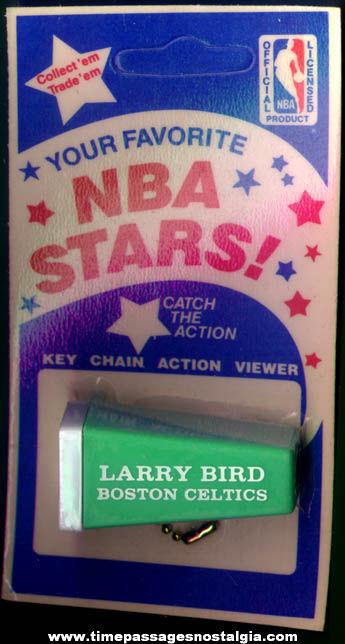 Old Unopened Larry Bird Boston Celtics Basketball Key Chain Viewer