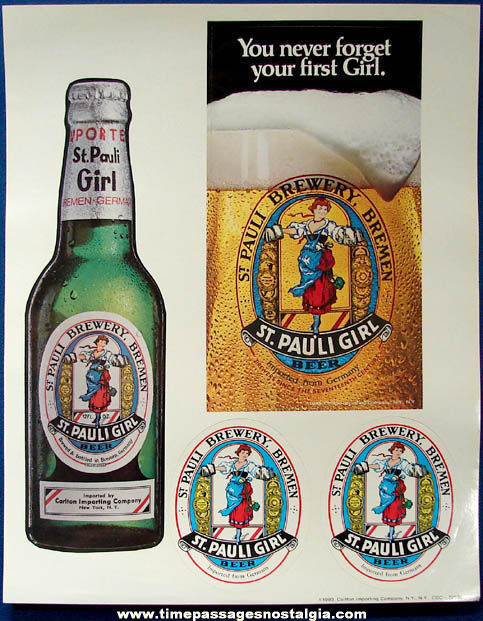 (8) Large Colorful ©1983 Unused St. Pauli Girl Beer Advertising Store Sticker Sheets