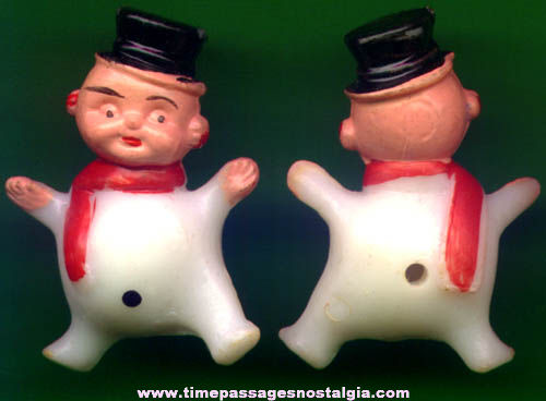 (25) Old Miniature Christmas Snowman Character Figures