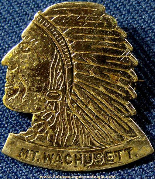 Old Metal Mount Wachusett Massachusetts Native American Indian Souvenir Pin
