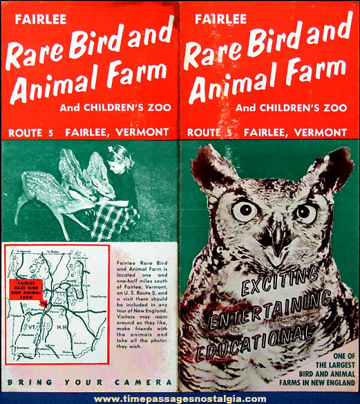 Colorful Old Fairlee Vermont Rare Bird and Animal Farm Advertising Brochure
