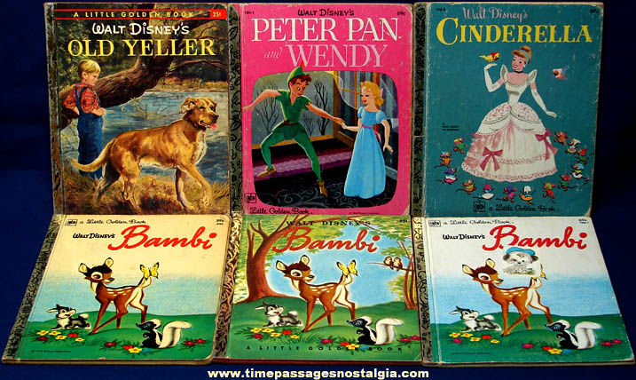 12) Old Walt Disney Character Little Golden Books - TPNC