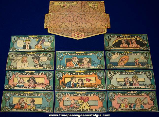 1930s Jane Arden Comic Strip Character Premium Play Money & Wallet