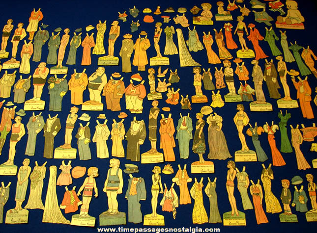 (148) 1930s Newspaper Comic Strip Character Premium Paper Dolls & Clothing