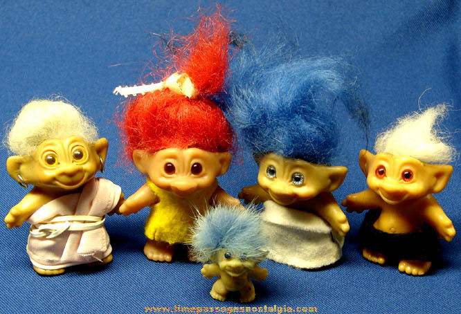 (5) Different Old Wishnik Troll Character Doll Figures