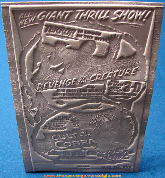Unused 1955 Double Feature Revenge of the Creature & Cult of The Cobra Movie Ad Mat Mold