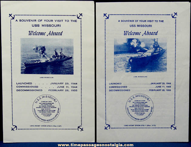 (2) Old U.S.S. Missouri BB-63 Souvenir Welcome Aboard Ship Brochures