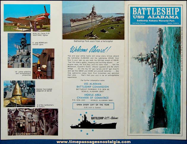 (2) Old U.S.S. Alabama (BB-60) Souvenir Welcome Aboard Brochures