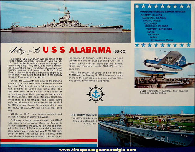 (2) Old U.S.S. Alabama (BB-60) Souvenir Welcome Aboard Brochures