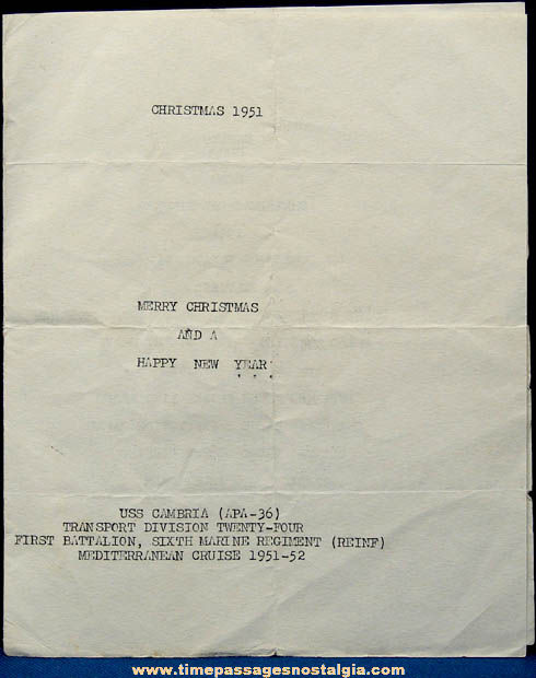 1951 U.S.S. Cambria APA-36 Naples Italy Christmas Dinner Menu