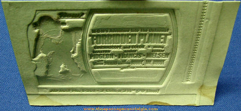 Unused 1956 Forbidden Planet Science Fiction Movie Ad Mat Mold