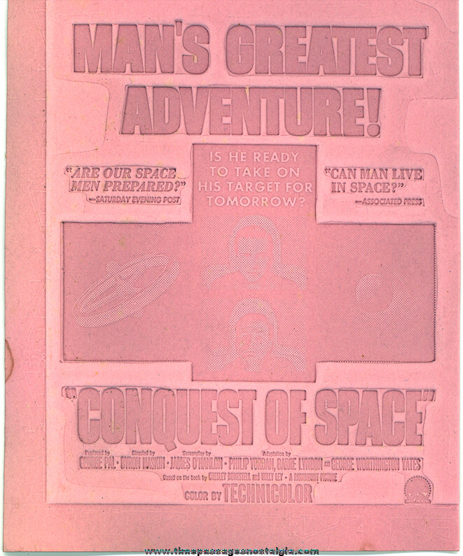 (4) Unused 1955 Conquest of Space Science Fiction Movie Ad Mat Molds