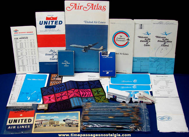 (82) Old United Airlines Advertising Items