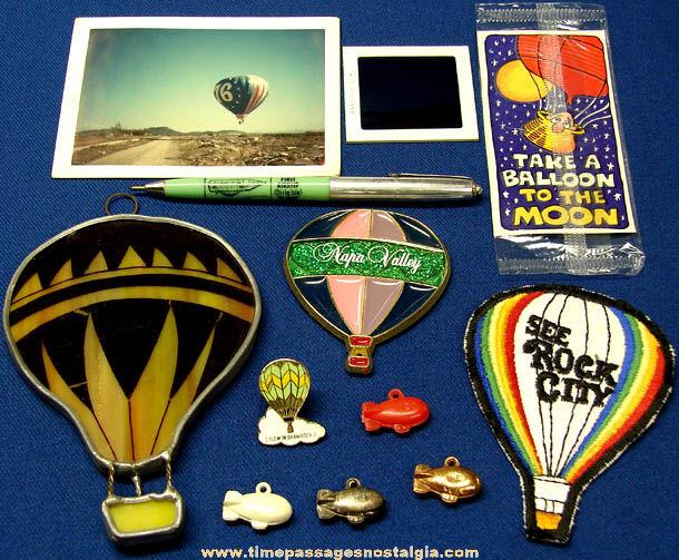 (12) Small Old Hot Air Balloon Airship & Blimp Items