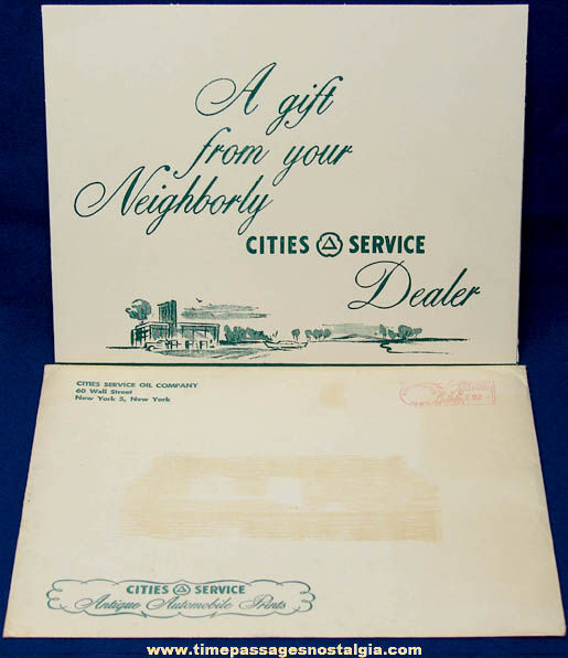 Old Cities Service Gas Station Advertising Premium Antique Automobile Print Set with Folder