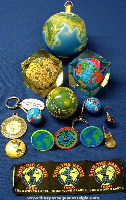 (16) Small Colorful Planet Earth Related Items