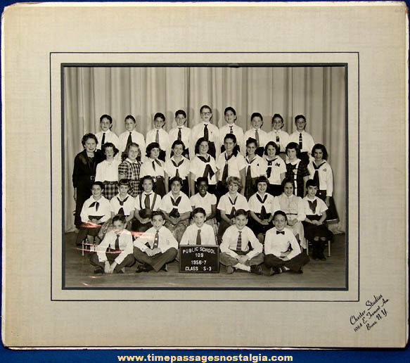 Large 1956 - 1957 Bronx New York Public School Class Photograph