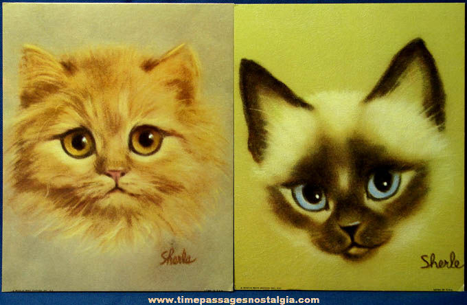 (2) Different 1960s Sherle Big Eyed Kitten Museum Art Prints