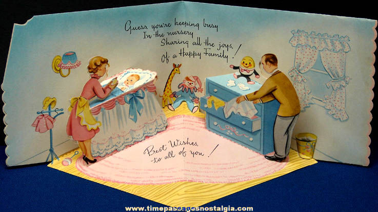 (6) Colorful Old Unused Mechanical & Pop Up Greeting Cards