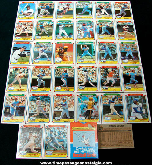 Set of (33) Boxed 1983 Drakes Bakery Advertising Baseball Cards