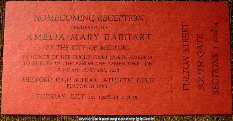 Unused 1928 Amelia Earhart Friendship Aeroplane Homecoming Ticket