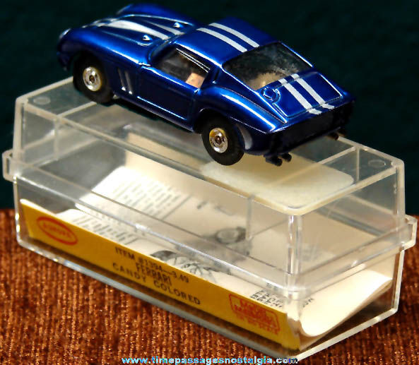 Boxed 1960s Candy Colored Blue Ferrari Aurora Slot Car