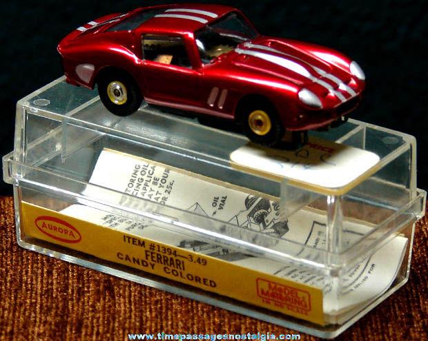 Boxed 1960s Candy Colored Red Ferrari Aurora Slot Car