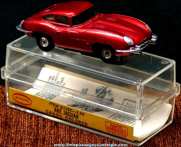 Boxed 1960s Candy Colored Red XKE Jaguar Aurora Slot Car