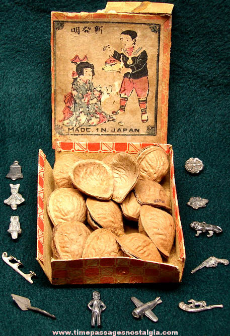 (12) Old Boxed Nut Shells With Novelty Lead Toy Prizes