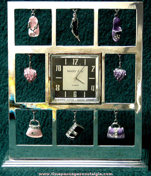 Mary Kay Cosmetics Advertising Clock With Hanging Charms