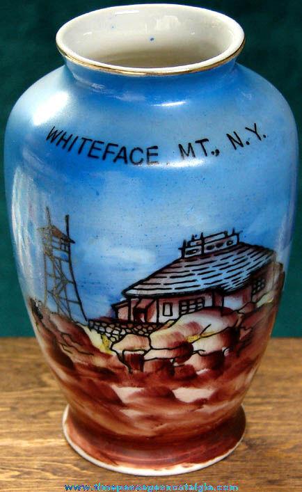 Old Whiteface Mountain New York Miniature Advertising Souvenir Vase