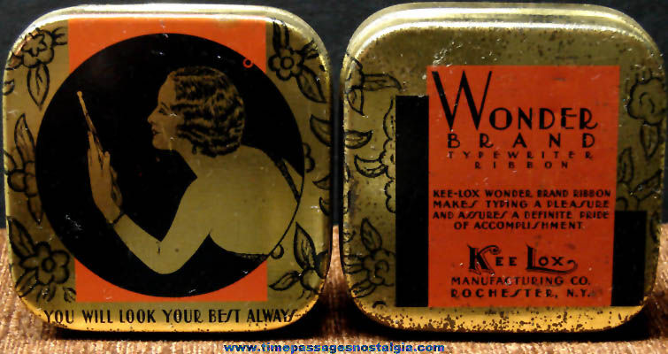 (2) Old Kee Lox Wonder Brand Typewriter Ribbon Advertising Tin Containers