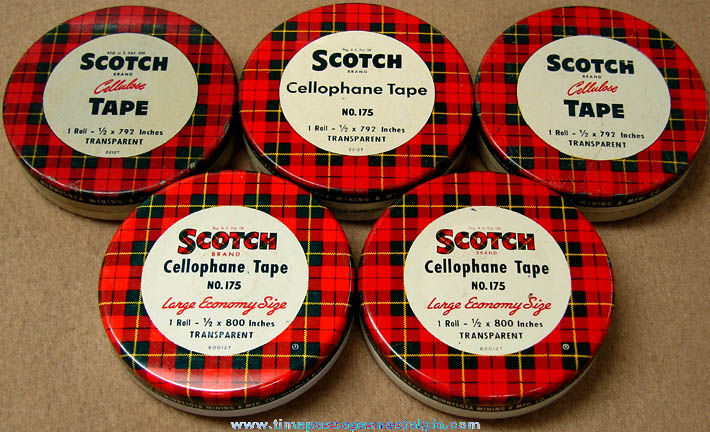 (5) Old Scotch Brand Cellophane Tape Advertising Tin Containers