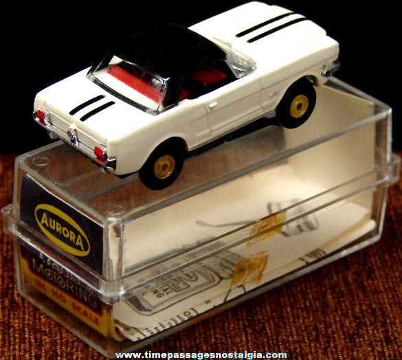 Boxed 1960s Black & White Ford Mustang Aurora Slot Car