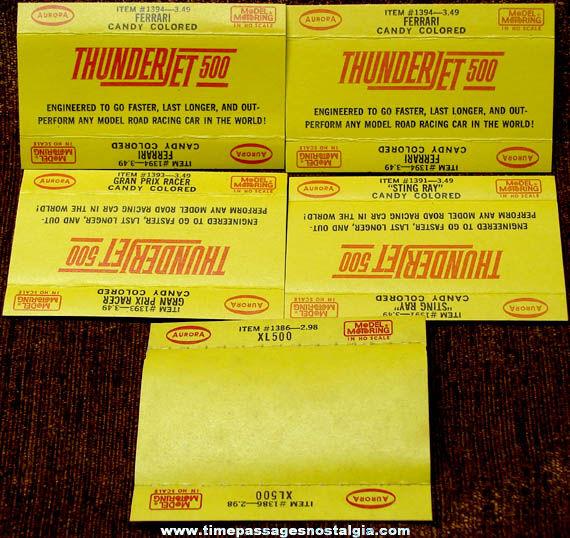 (5) 1960s Aurora Slot Car Paper Insert Labels