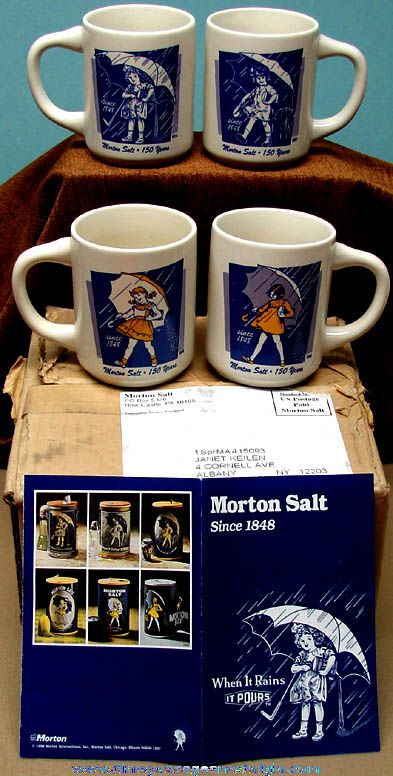 Boxed Set of (4) Different Unused Morton Salt Advertising Character Coffee Cups