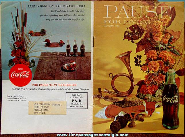 Autumn 1962 Coca Cola Advertising Pause For Living Magazine