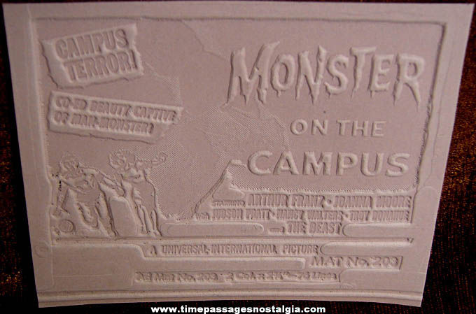 Unused 1958 Monster On The Campus Movie Ad Mat Mold