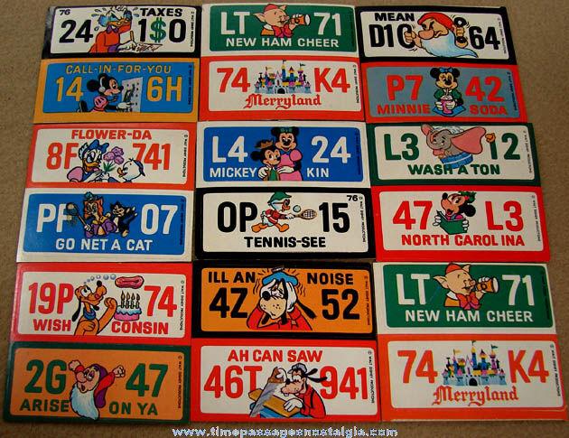 (18) Unused 1976 Walt Disney Character License Plate Premium Stickers