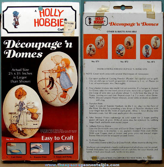 Unused ©1974 Holly Hobbie Character Decoupage 'n Domes Wall Plaques Craft Kit