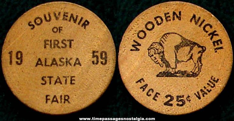 1959 First Alaska State Fair Advertising Souvenir Wooden Nickel