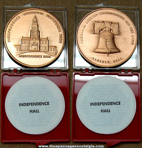 Boxed Independence Hall & Liberty Bell Advertising Souvenir Medal