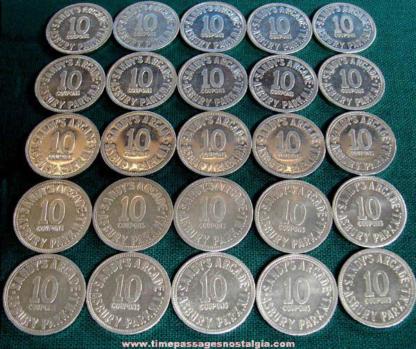 (25) Old Asbury Park New Jersey Boardwalk Sandy's Arcade Game Ten Point Token Coins