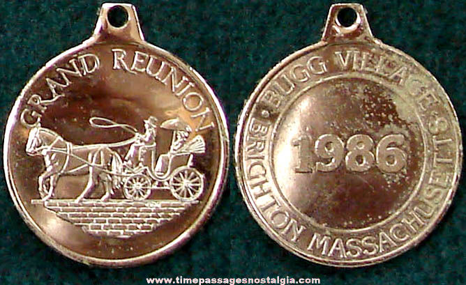 1986 Bugg Village Brighton Massachusetts Grand Reunion Key Chain Fob Charm