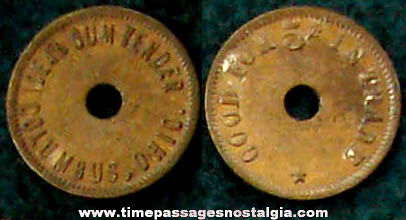 Old Ideal Gum Vender Machine Advertising Token Coin