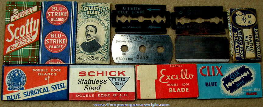 (12) Different Old Razor Blades Many With Advertising Wrappers