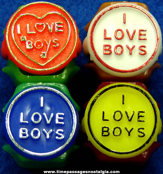 (4) Colorful Old I Love Boys Gum Ball Machine Prize Toy Rings