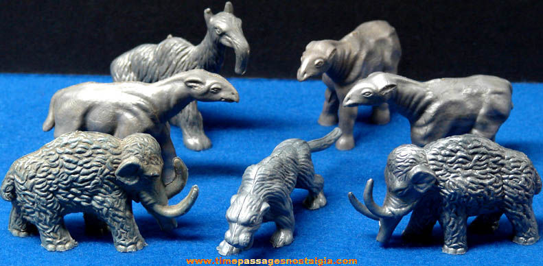 (7) Old Nabisco Cereal Prize Prehistoric Mammal Play Set Figures
